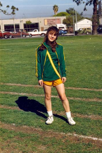Esparza in running track uniform in junior high.
