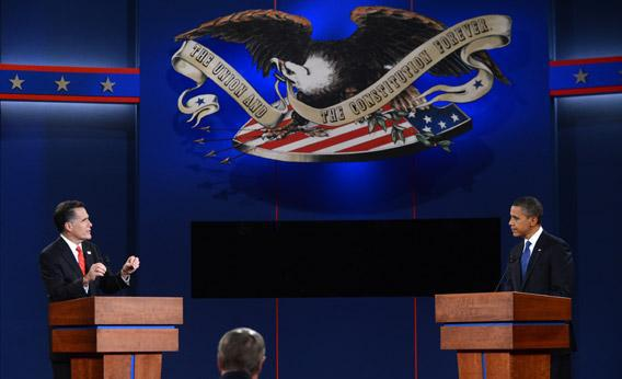 President Obama and Republican challenger Mitt Romney participate in their first debate.