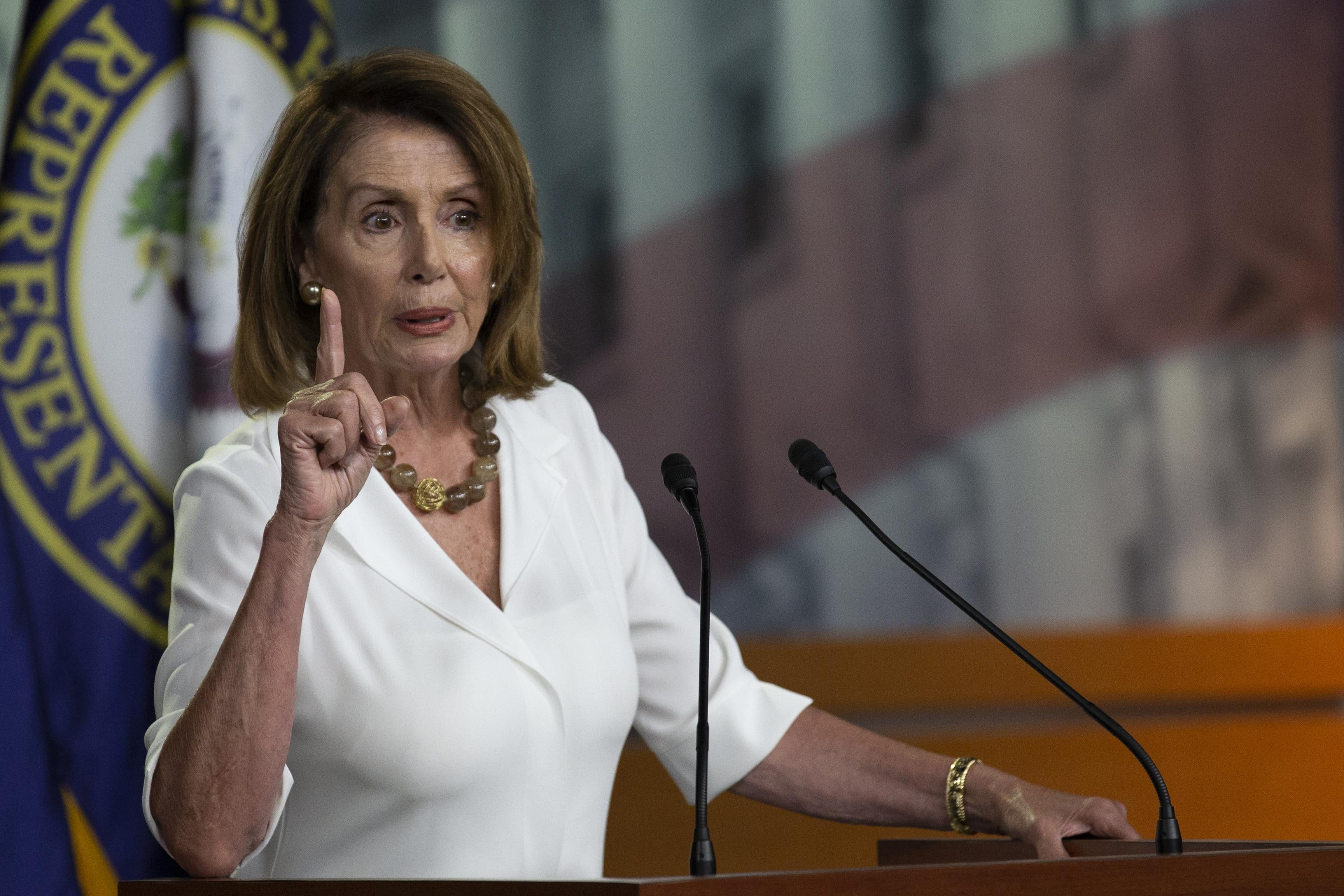 House Minority Leader Nancy Pelosi speaks with reporters on July 12, 2018 in Washington, D.C.