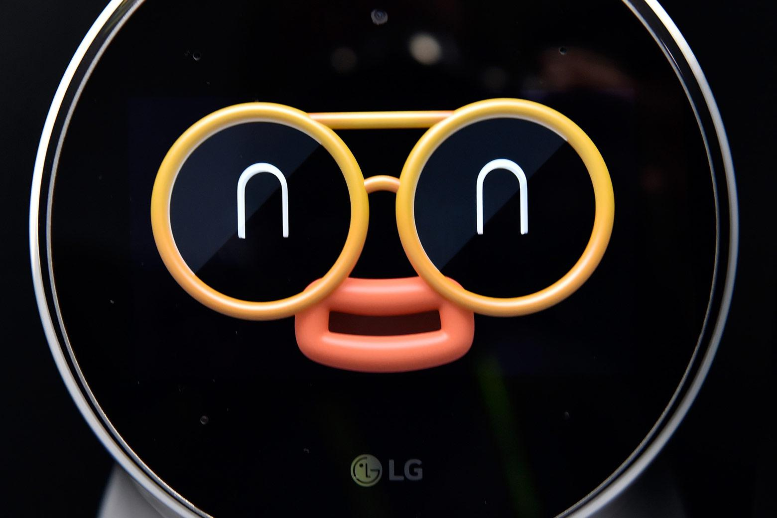 The cartoonish face of LG's Cloi personal assistant robot.