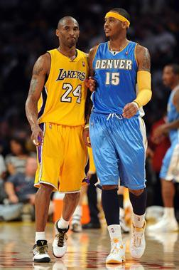 Photograph of Kobe Bryant and Carmelo Anthony. Click to enlarge.