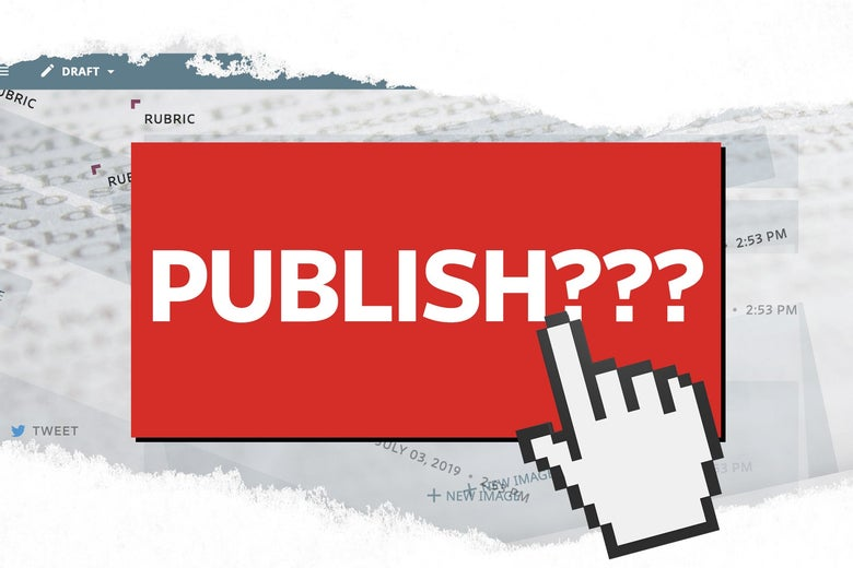 "Illustration: A big red button that says ""PUBLISH???"" with a computer hand tool about to click it."