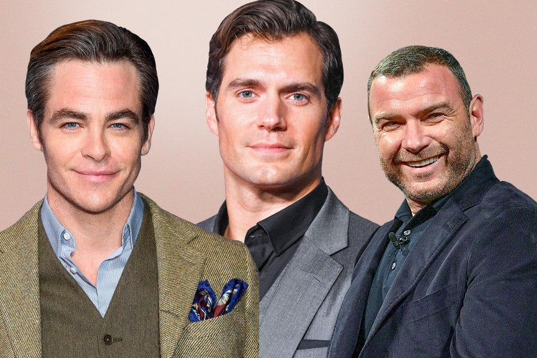 Photo collage of Chris Pine, Henry Cavill, and Liev Schreiber.