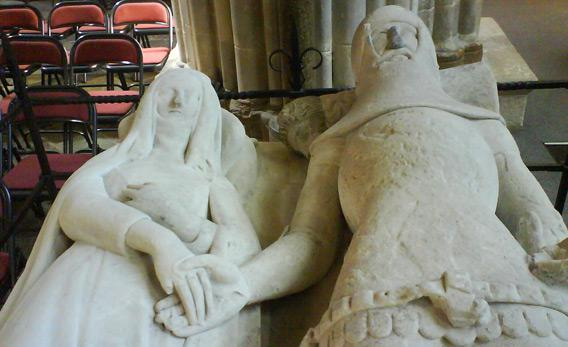 "The 14th-century tomb effigy in Chichester Cathedral that inspired Larkin's poem ""An Arundel Tomb"""