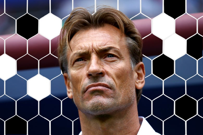 Photo illustration: Herve Renard, head coach of Morocco's men's soccer team, looks on during the Wednesday match between Portugal and Mexico. The background is a stylized set of soccer net–like panels.
