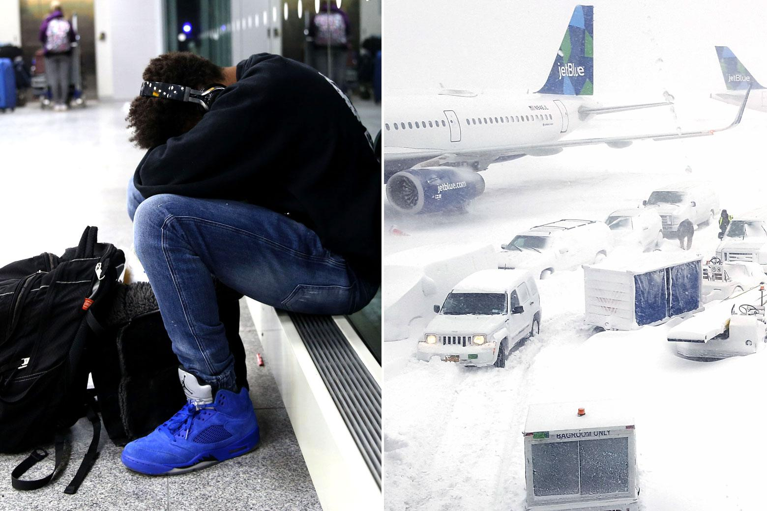 At left, a passenger sits with his head between his knees. At right, a snowy scene on the JFK tarmac.