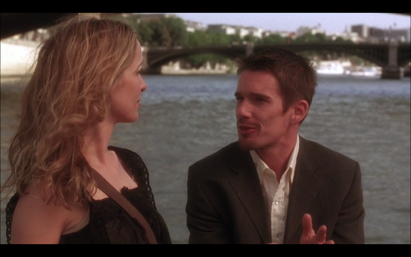 Ethan Hawke and Julie Delpy on a boat.