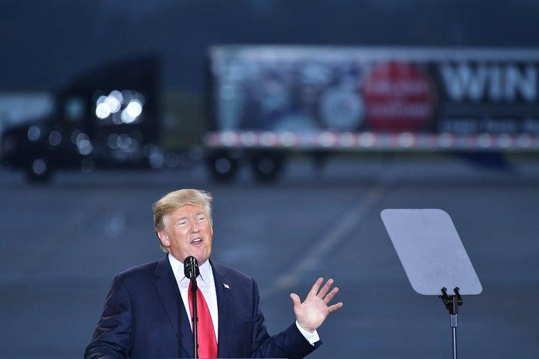 President Donald Trump speaks on tax reform, at Harrisburg International Airport on Wednesday in Middletown, Pennsylvania.