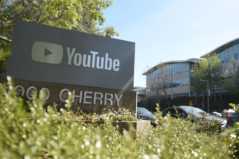 A YouTube sign is seen at YouTube's corporate headquarters during an active shooter situation in San Bruno, California on April 03, 2018.                               Gunshots erupted at YouTube's offices in California Tuesday, sparking a panicked escape by employees and a massive police response, before the shooter -- a woman -- apparently committed suicide.Police said three people had been hospitalized with gunshot injuries following the shooting in the city of San Bruno, and that a female suspect was found dead at the scene. 'We have one subject who is deceased inside the building with a self-inflicted wound,' San Bruno Police Chief Ed Barberini told reporters. 'At this time, we believe it to be the shooter.'          / AFP PHOTO / JOSH EDELSON        (Photo credit should read JOSH EDELSON/AFP/Getty Images)