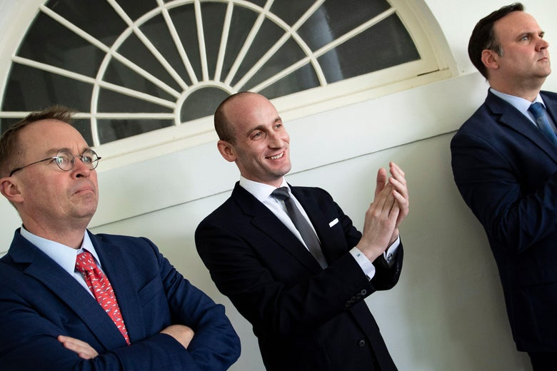 Stephen Miller, looking proud of himself, on May 16 in Washington.