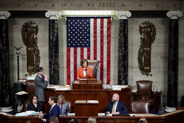 Speaker of the House Nancy Pelosi presides over a vote by the U.S. House of Representatives on a resolution formalizing the impeachment inquiry into President Donald Trump on October 31, 2019 in Washington, DC.