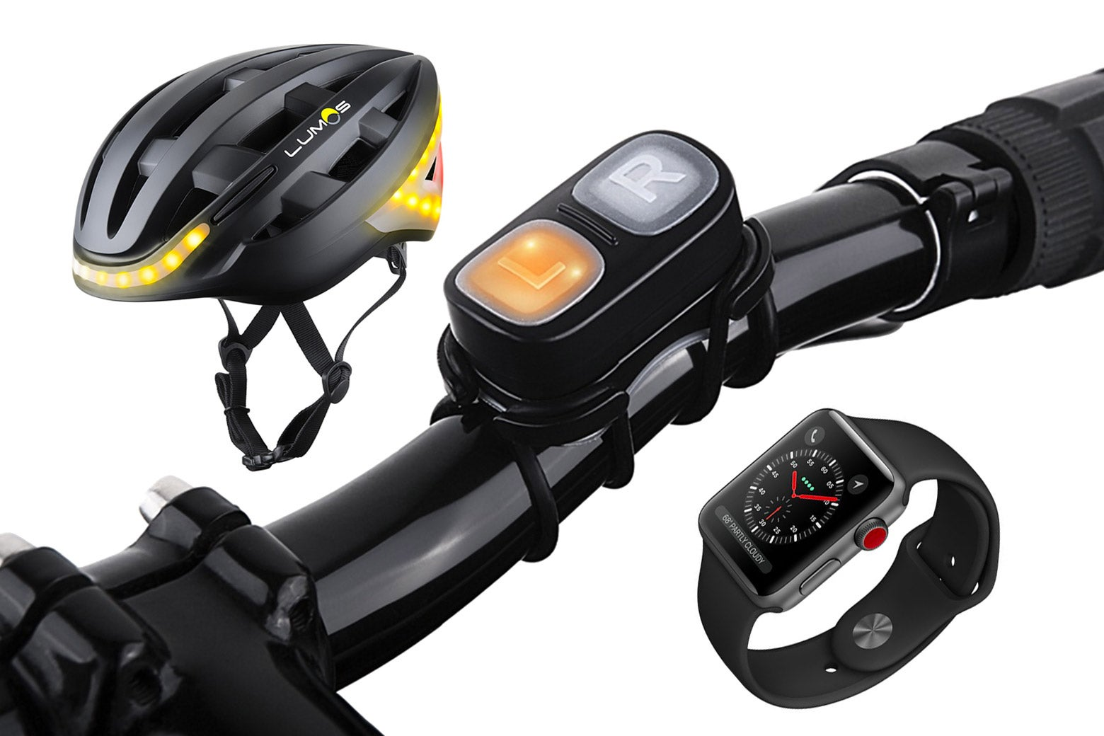 A Lumos helmet, bike handlebars, and an Apple Watch.