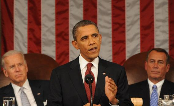 U.S. President Barack Obama delivers his State of the Union address.