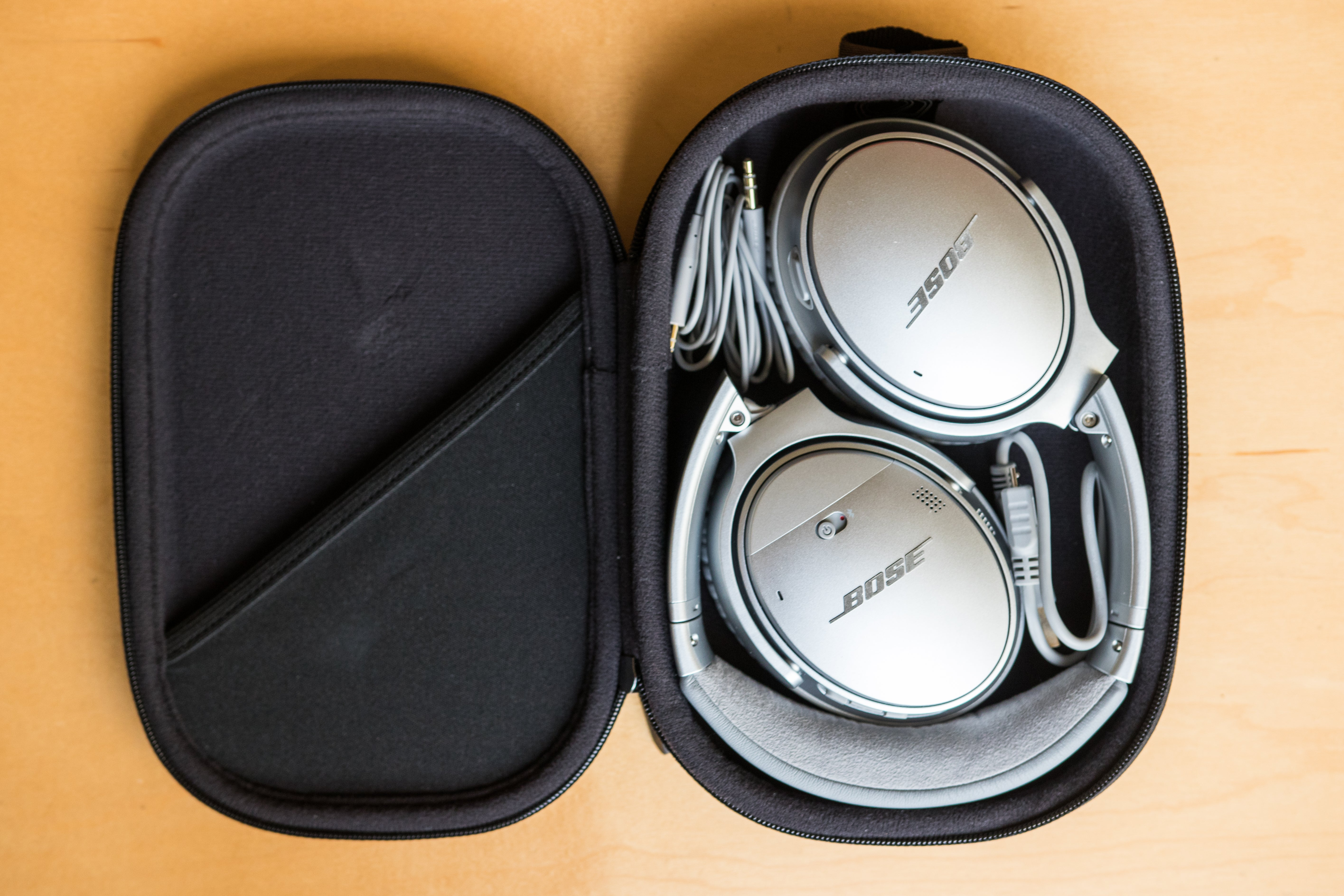 The QC35 II in their carrying case