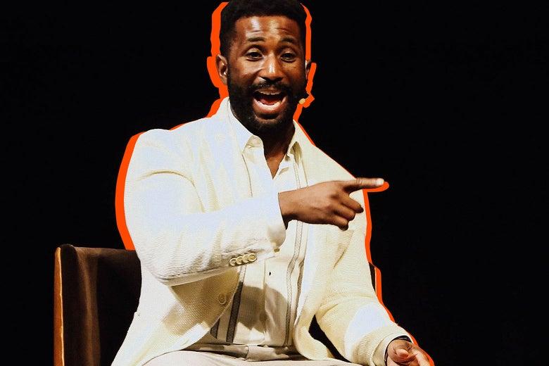 Photo illustration: Wesley Morris speaks onstage on Dec. 7 in Los Angeles.