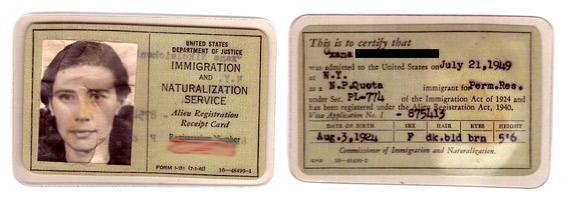 1949 Alien Registration Receipt Card, or Form I-151.