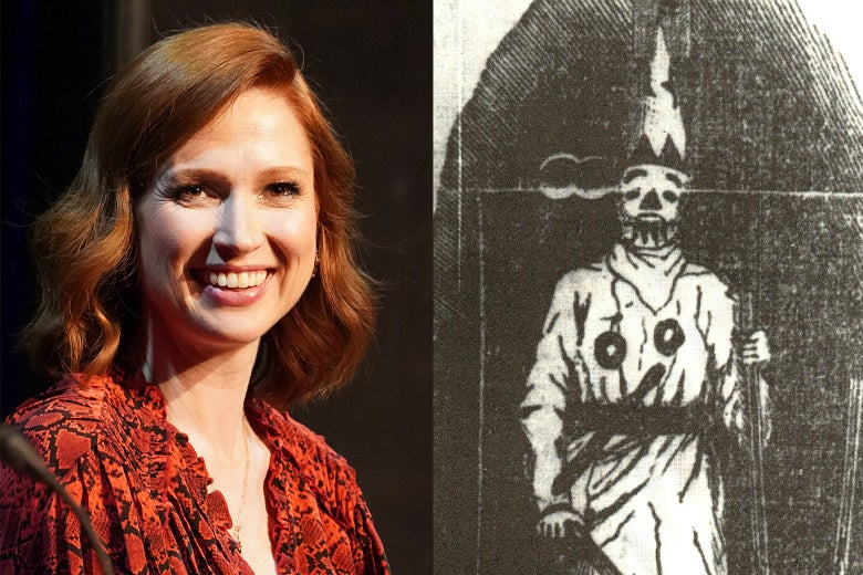 Diptych of a photo of Kemper smiling and a woodblock drawing of a man in white robes with a pointy cap and a gun