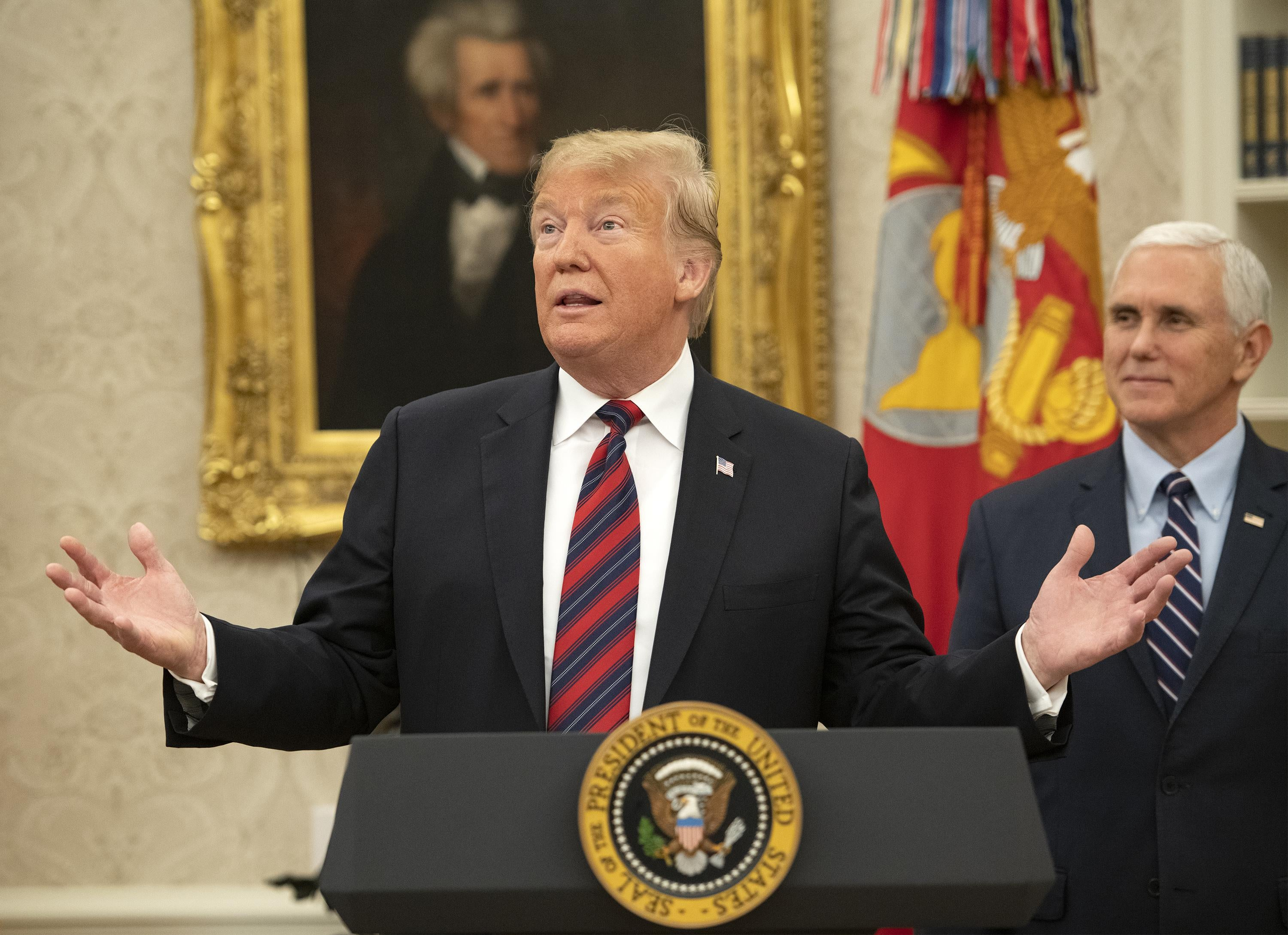 President Donald Trump makes remarks as he hosts a naturalization ceremony in the Oval Office of the White House in Washington, DC on January 19, 2019.