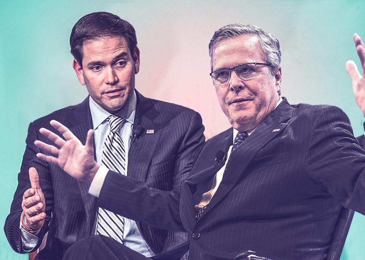 Republican presidential hopeful and U.S. Senator Marco Rubio (R-,Republican presidential hopeful and U.S. Senator Marco Rubio (R-FL), left, and Former Florida Governor Jeb Bush.