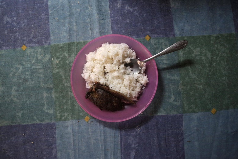 A dish with beef and rice.
