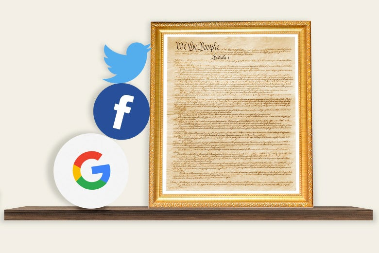 A framed copy of the constitution propping up the Google, Facebook, and Twitter logos.