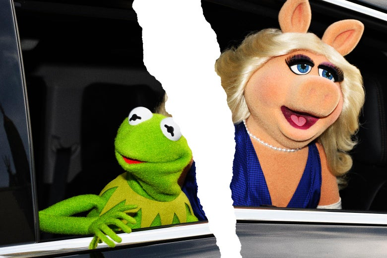 Kermit the Frog and Miss Piggy in a car. The picture is torn in half.