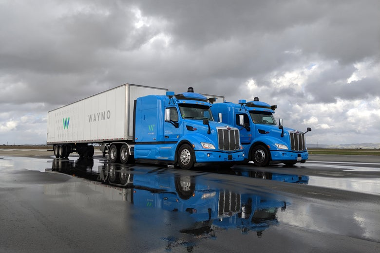 Waymo's blue big rigs.