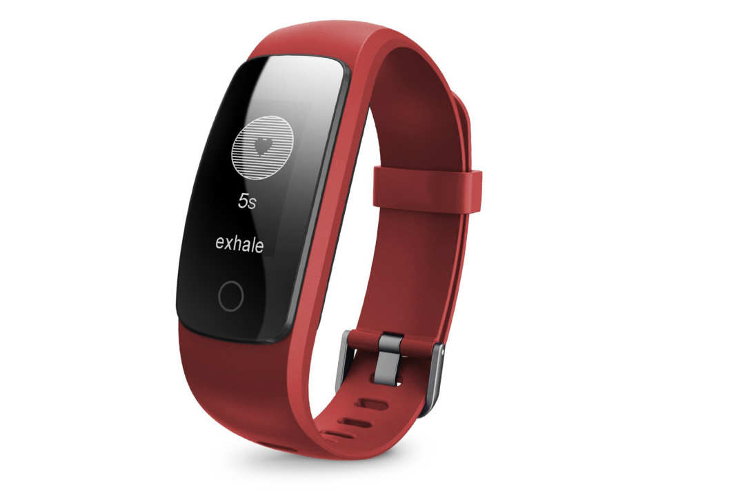 RunMe fitness tracker with a red band.