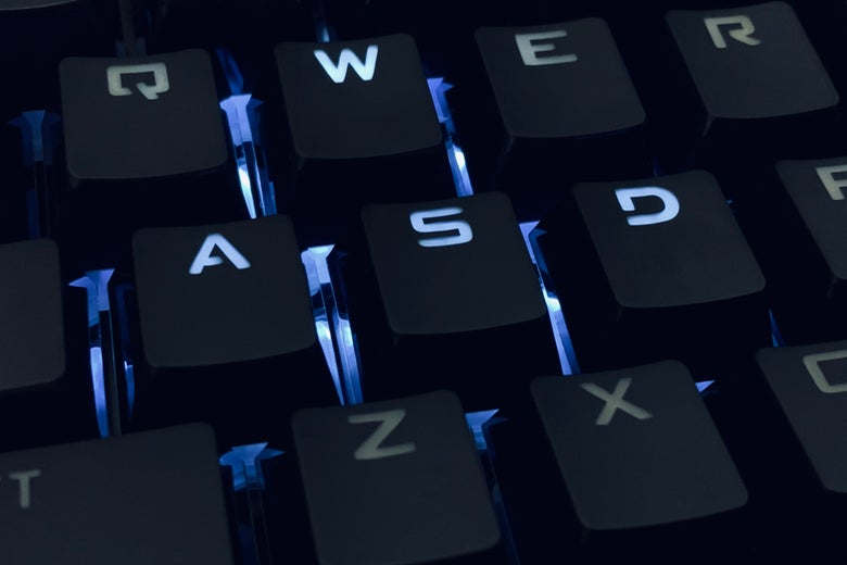 A backlit keyboard.