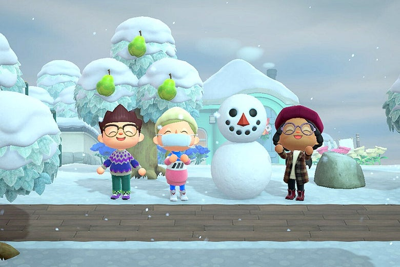 Characters next to a snowman in Animal Crossing: New Horizons.