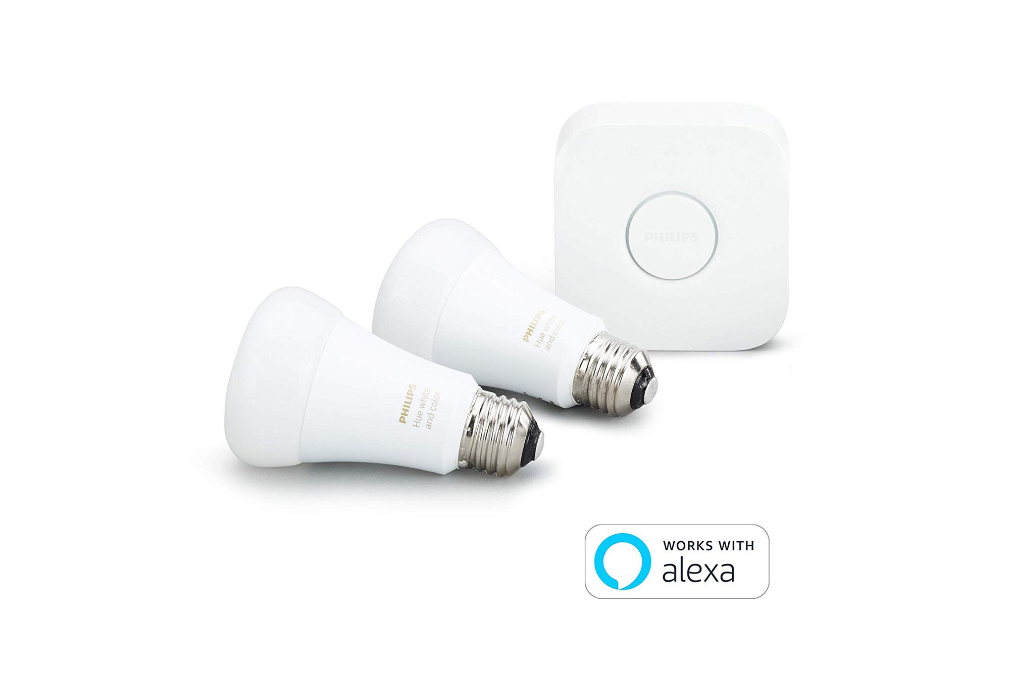 Philips Hue White and Color Ambiance A19 60W Equivalent LED Smart Light Bulb Starter Kit