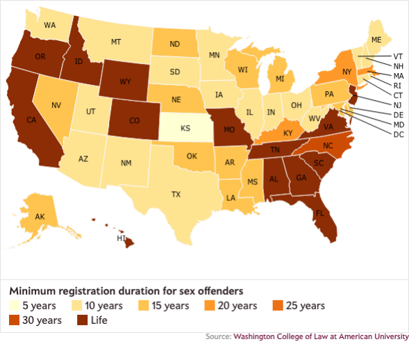 offender registry laws by state, mapped. on
