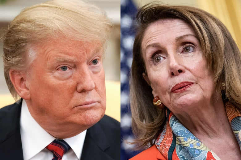 Diptych of Trump and Pelosi.