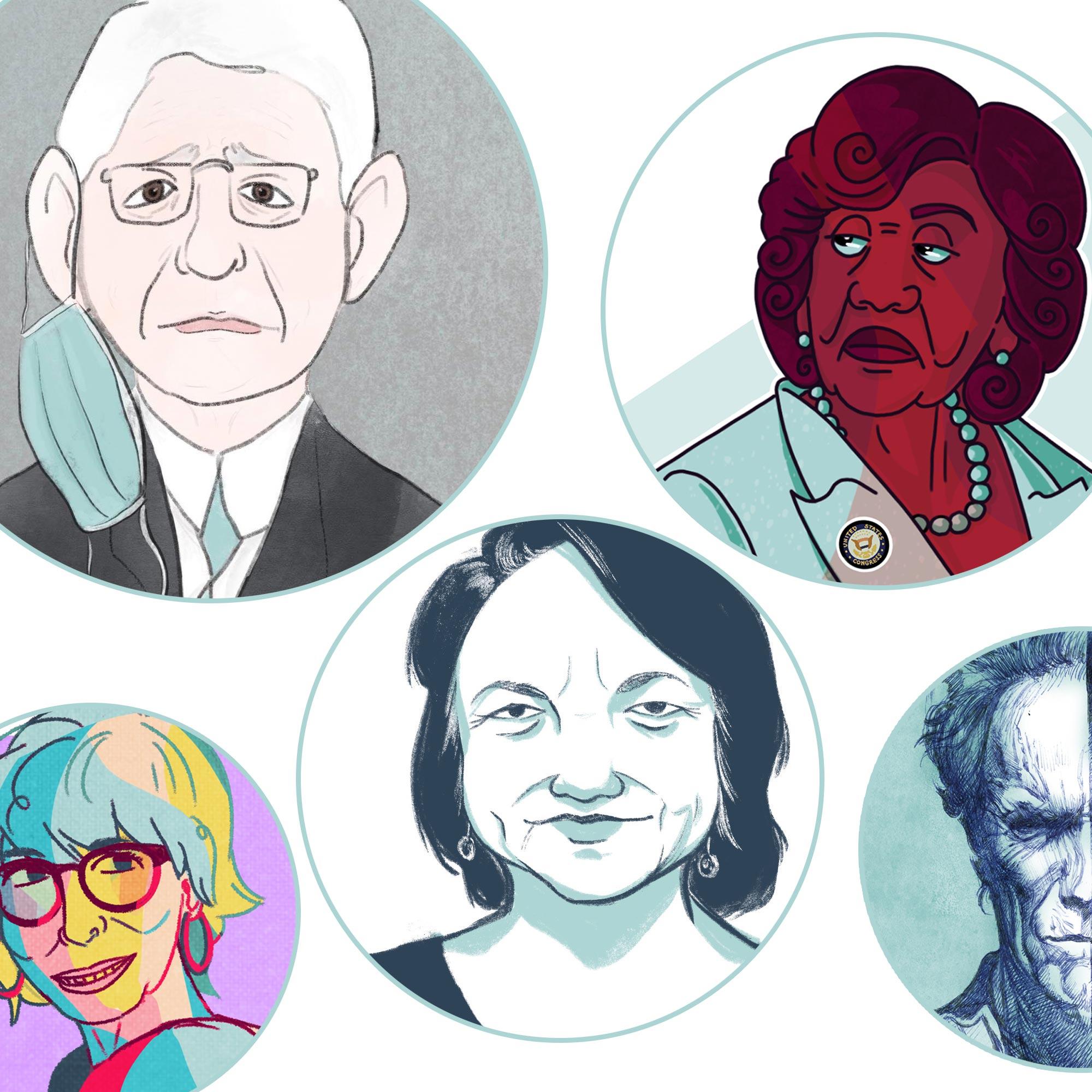 Illustrations of Fauci, Maxine Waters, Clint Eastwood, Dolores Huerta, and Rita Moreno