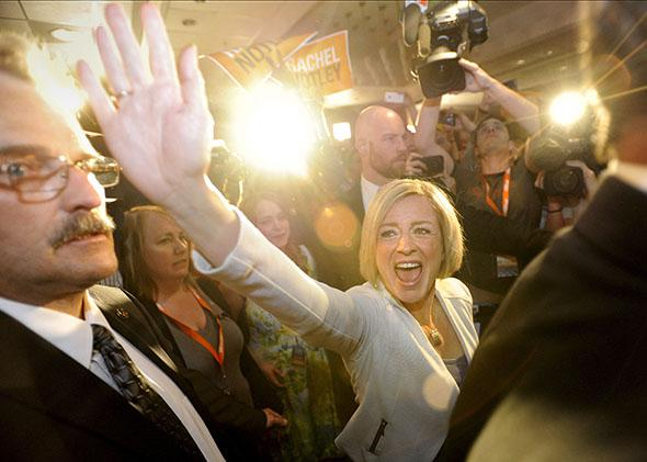 Alberta NDP leader Rachel Notley reacts to election results in Edmonton May 5, 2015.