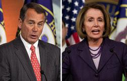 Rep. John Boehner and  US House Speaker Nancy Pelosi. Click image to expand.