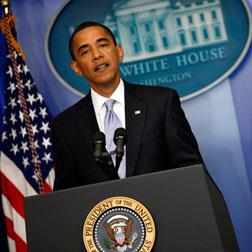 Barack Obama speaks during a news conference at the White House.