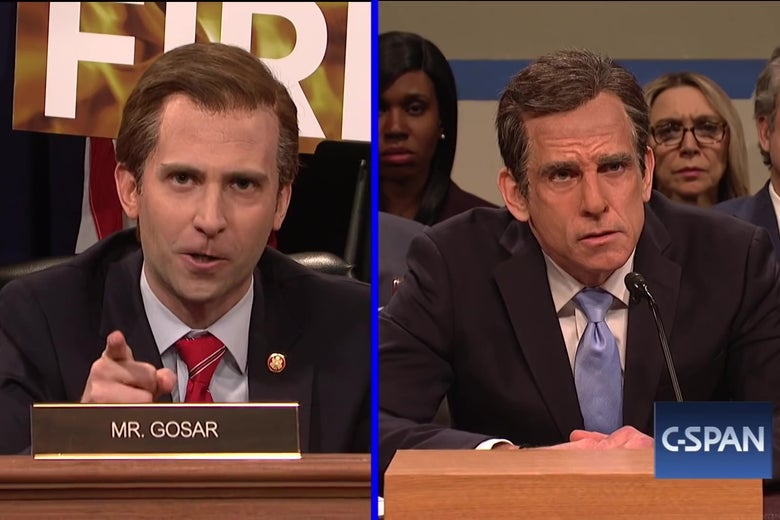 Kyle Mooney, dressed as Paul Gosar, questions Ben Stiller, dressed as Michael Cohen.