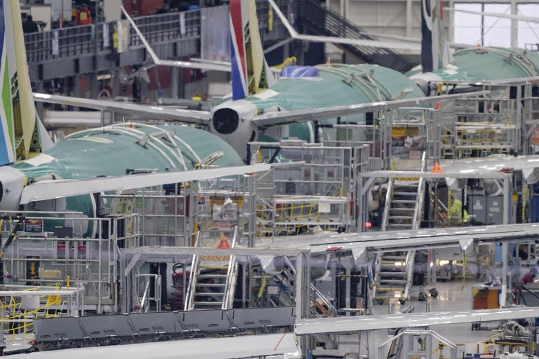 A 737 MAX production line inside the Boeing factory is pictured on Dec.16, 2019 in Renton, Washington.