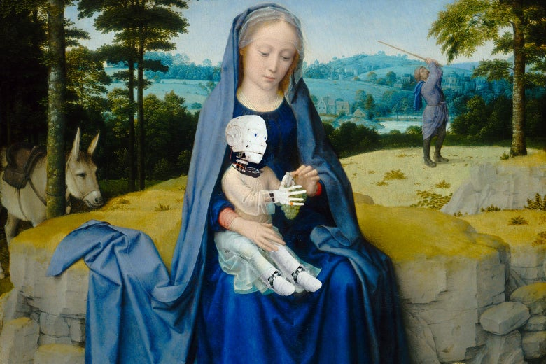Photo collage of Mary holding a baby robot Jesus.