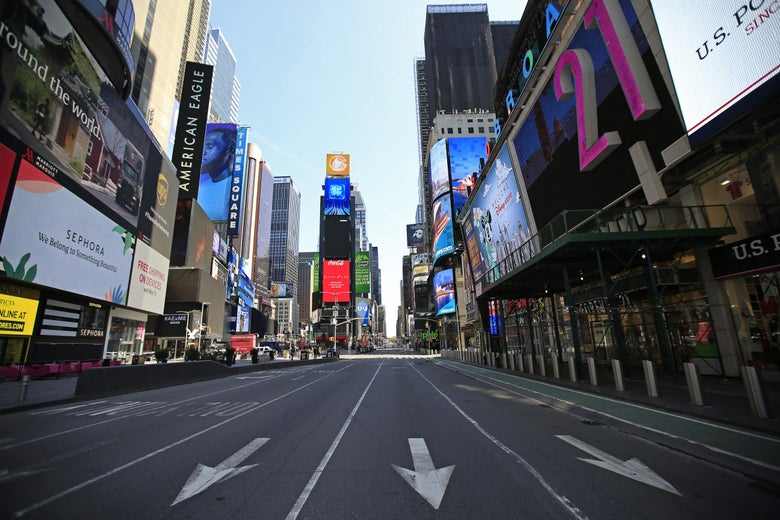Times Square looking eerily empty.