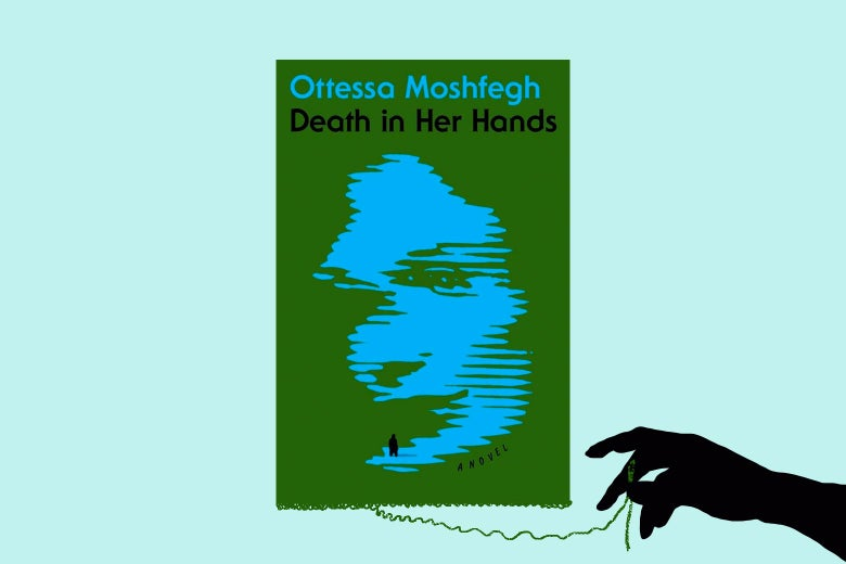 The cover of the new book, Death in Her Hands, slowly unravels, as a hand enters from outside the frame and pulls on a thread