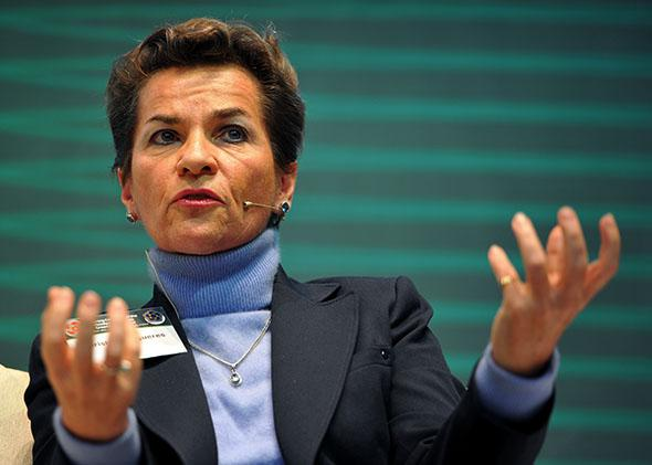 Christiana Figueres, executive secretary of the UNFCC, attends a Global Climate Fund forum at the opening ceremony of its headquarters in Songdo, Incheon on December 4, 2013.