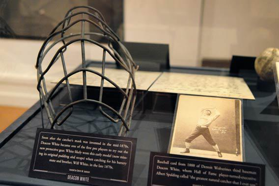 Deacon White's catcher's mask, on display at the Hall of Fame.