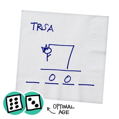 A Hangman drawing with dice showing 9 as the optimal age for the game.