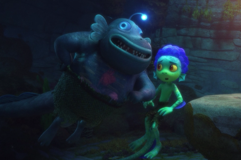 an anglerfish sea monster elbows a sea monster boy