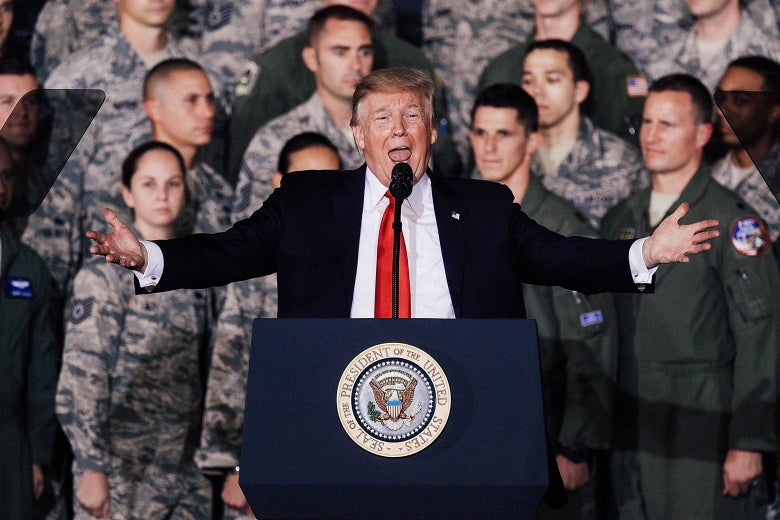 U.S. President Donald Trump speaks to Air Force personnel on Sept. 15, 2017 at Joint Base Andrews in Maryland.