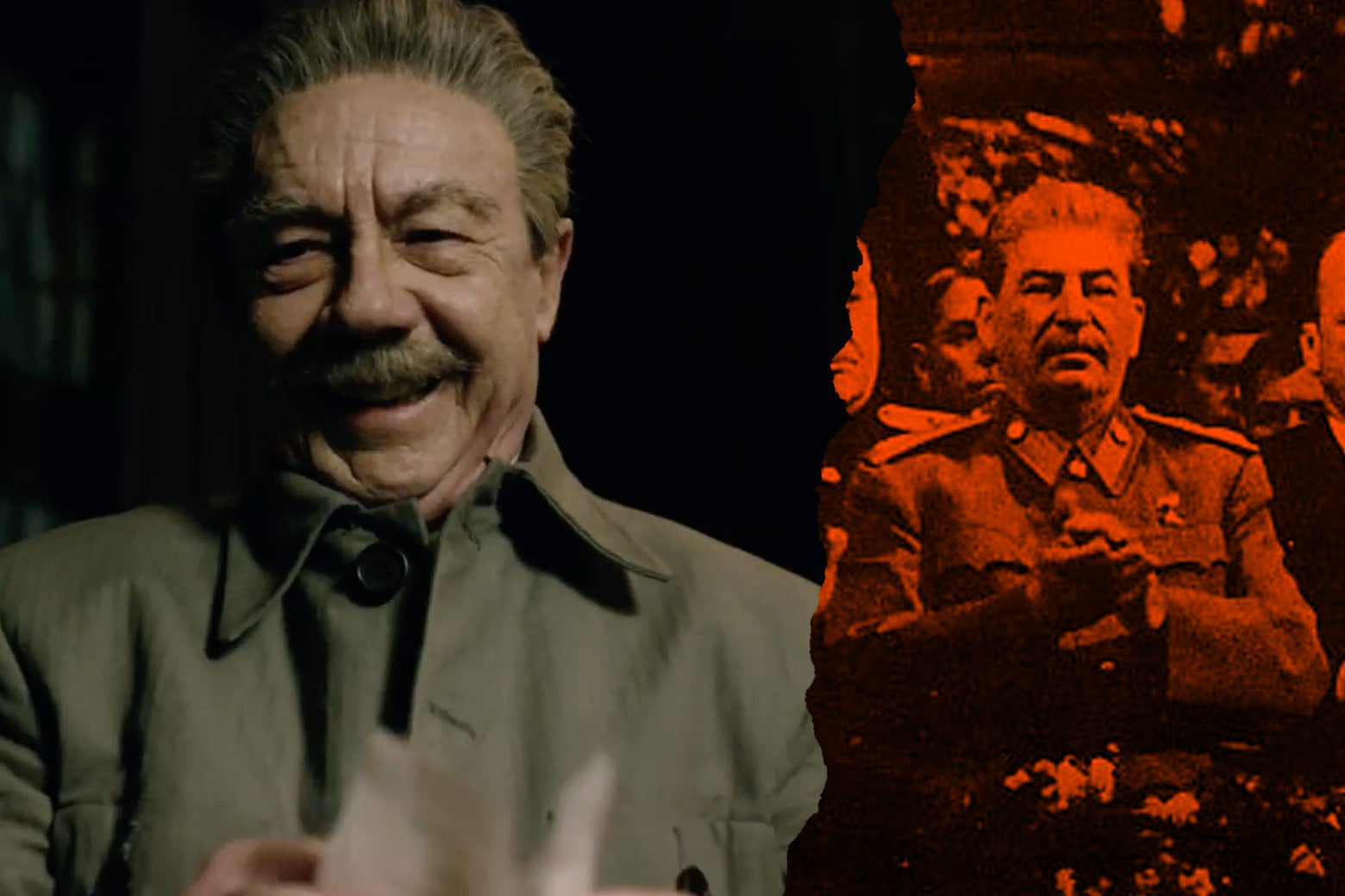 At left: Adrian McLoughlin as Josef Stalin in the film. At right: the real Josef Stalin.