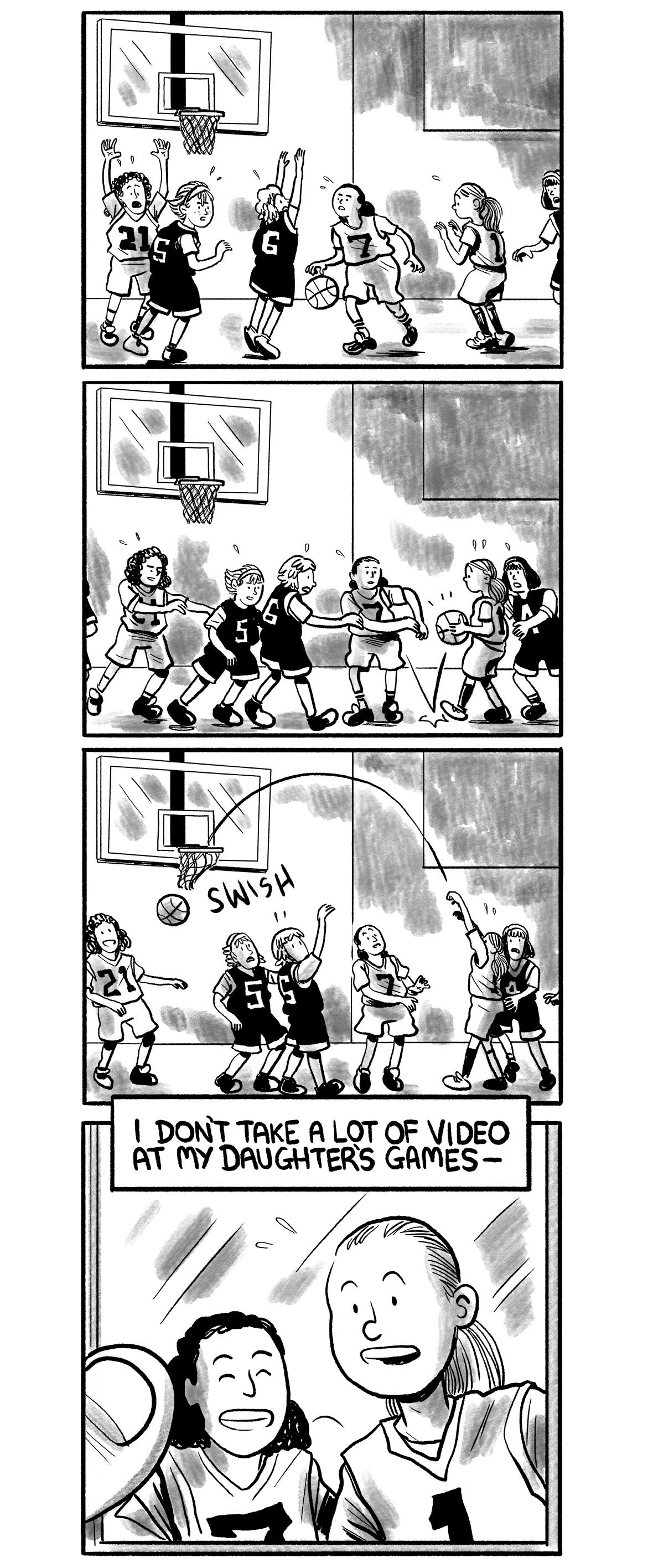 "A kid's basketball game, No. 7 dribbles under heavy pressure from the opposing team. She passes the ball to No. 1. No. 1 takes a shot, it's a swish.  The narrator says: ""I don't take a lot of video at my daughter's games -""  The narrator's mobile phone displays a still frame of his daughter smiling."