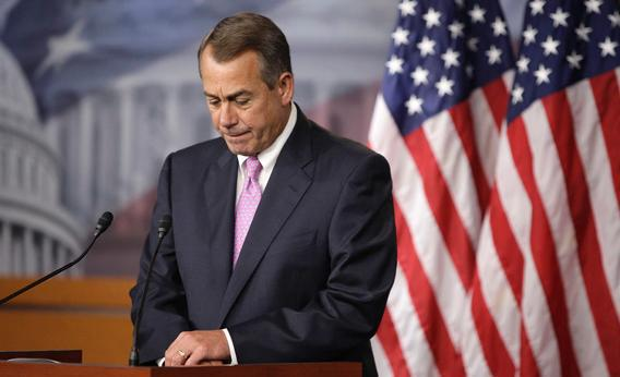 U.S. House Speaker John Boehner (R-OH) pauses during remarks to reporters in a news conference on Capitol Hill in Washington, June 27, 2013.